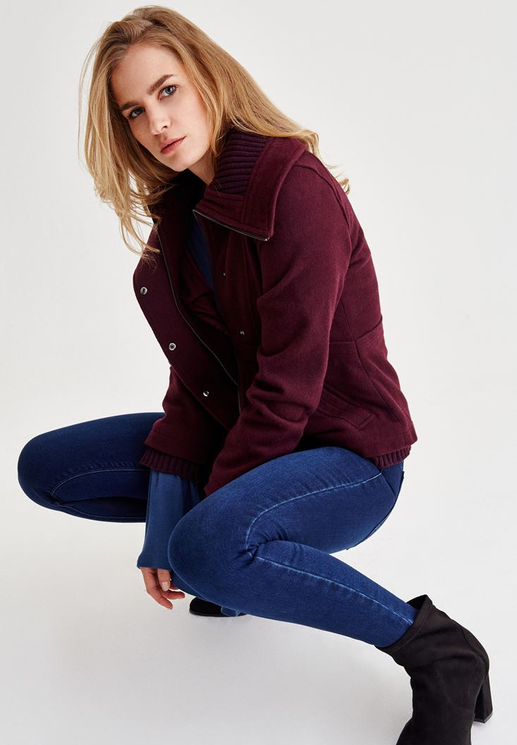 Purple Wool Jacket With Pockets