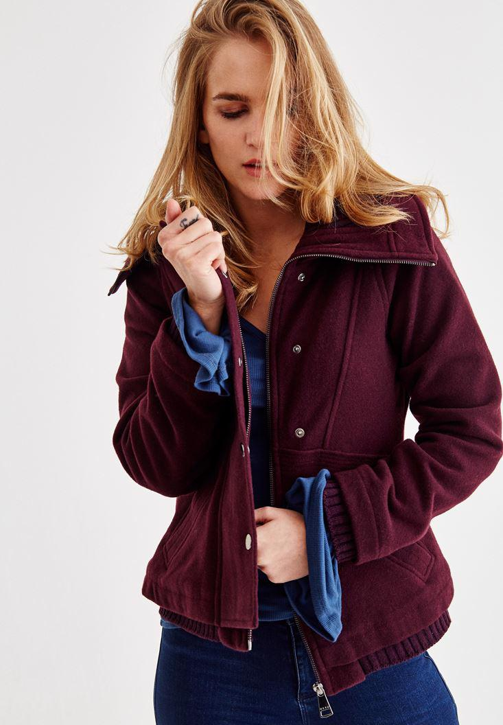 Bayan Mor Cepli Yün Ceket