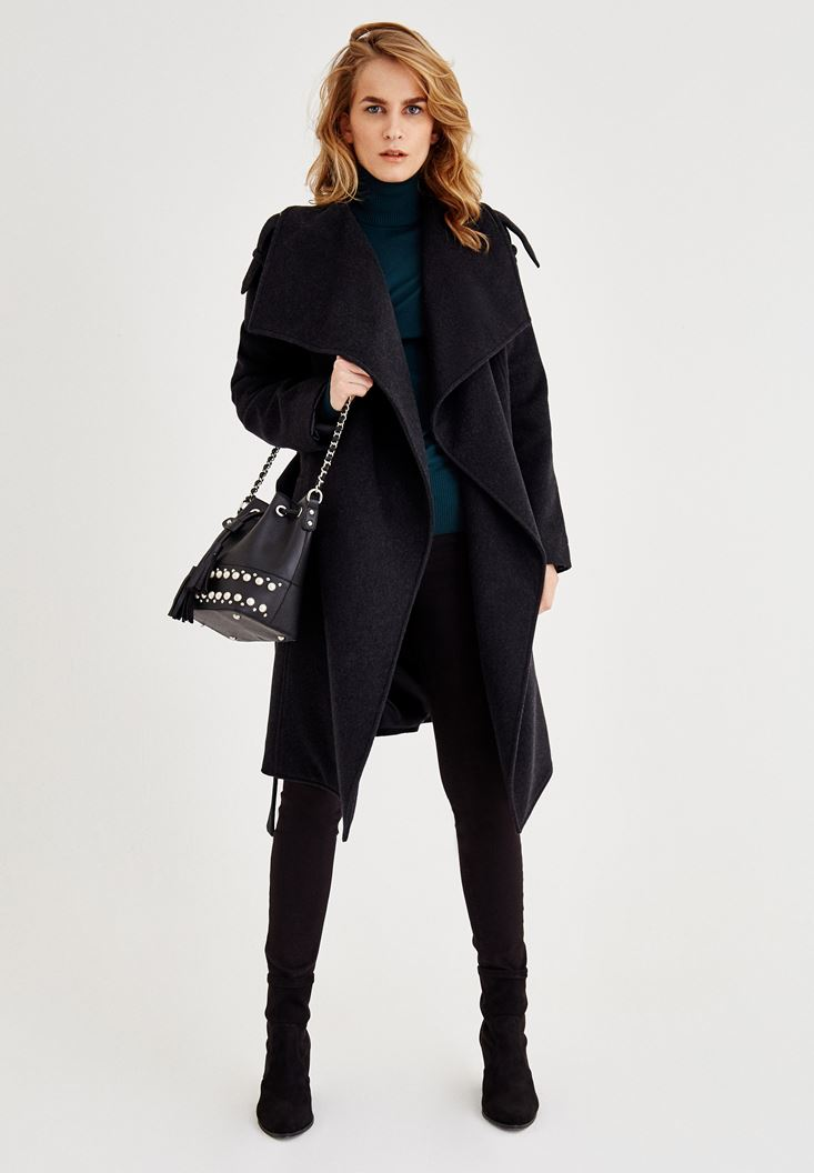 Black Long Wool Coat with Pockets