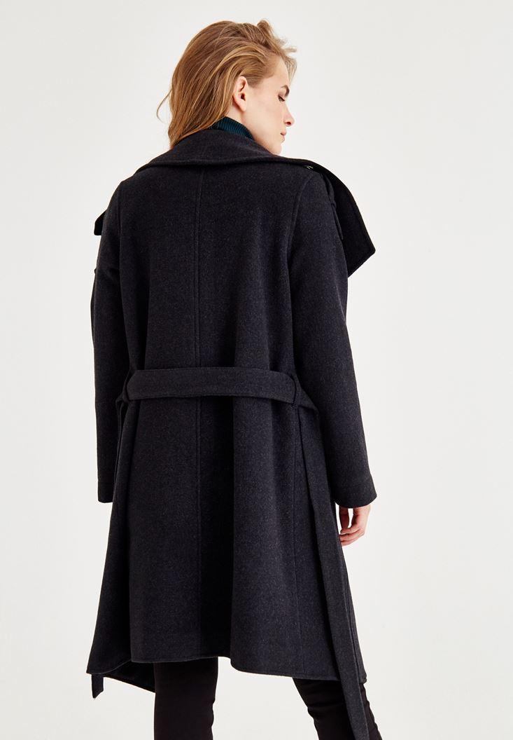 Bayan Siyah Uzun Cepli Yün Kaban