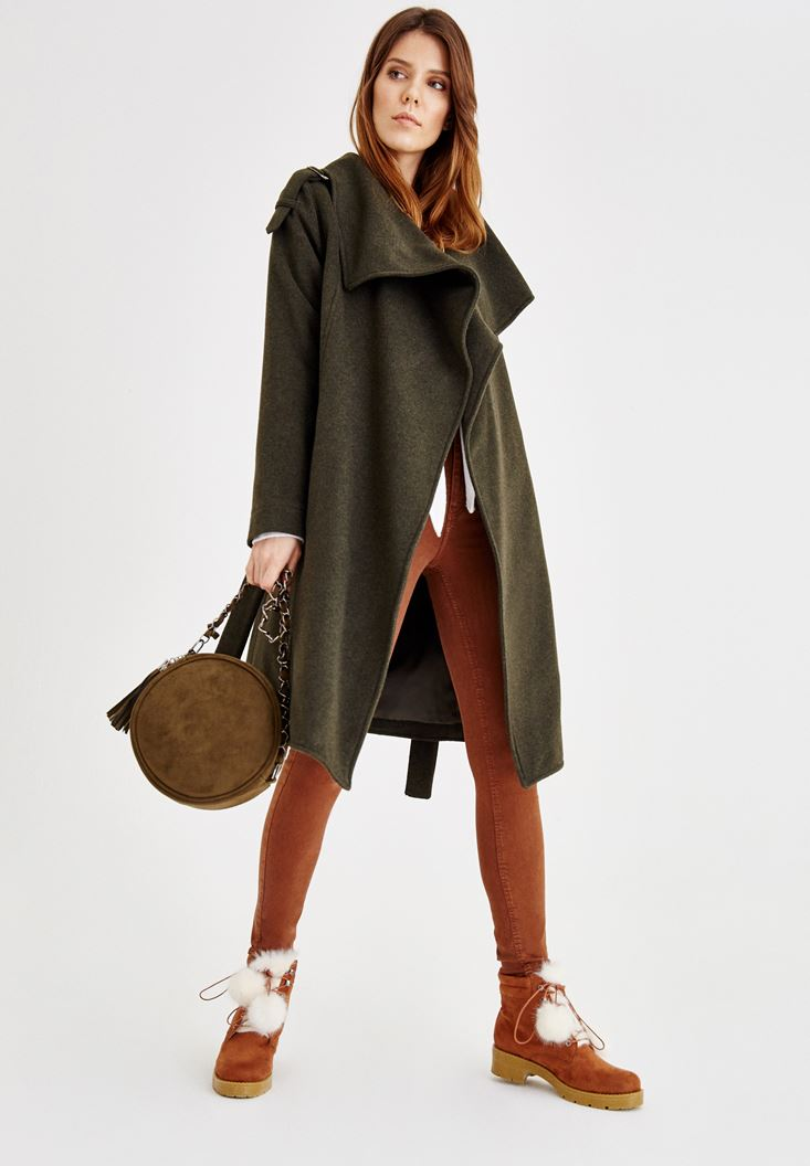Green Long Wool Coat with Pockets