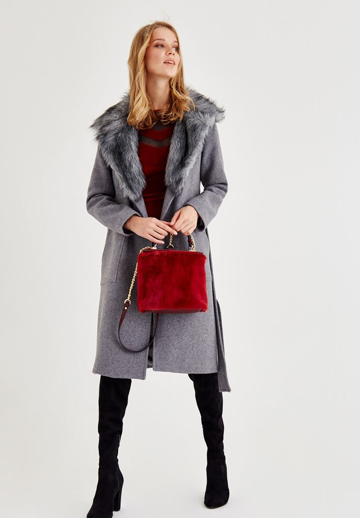 Grey Coat with Fur Detail and Belt