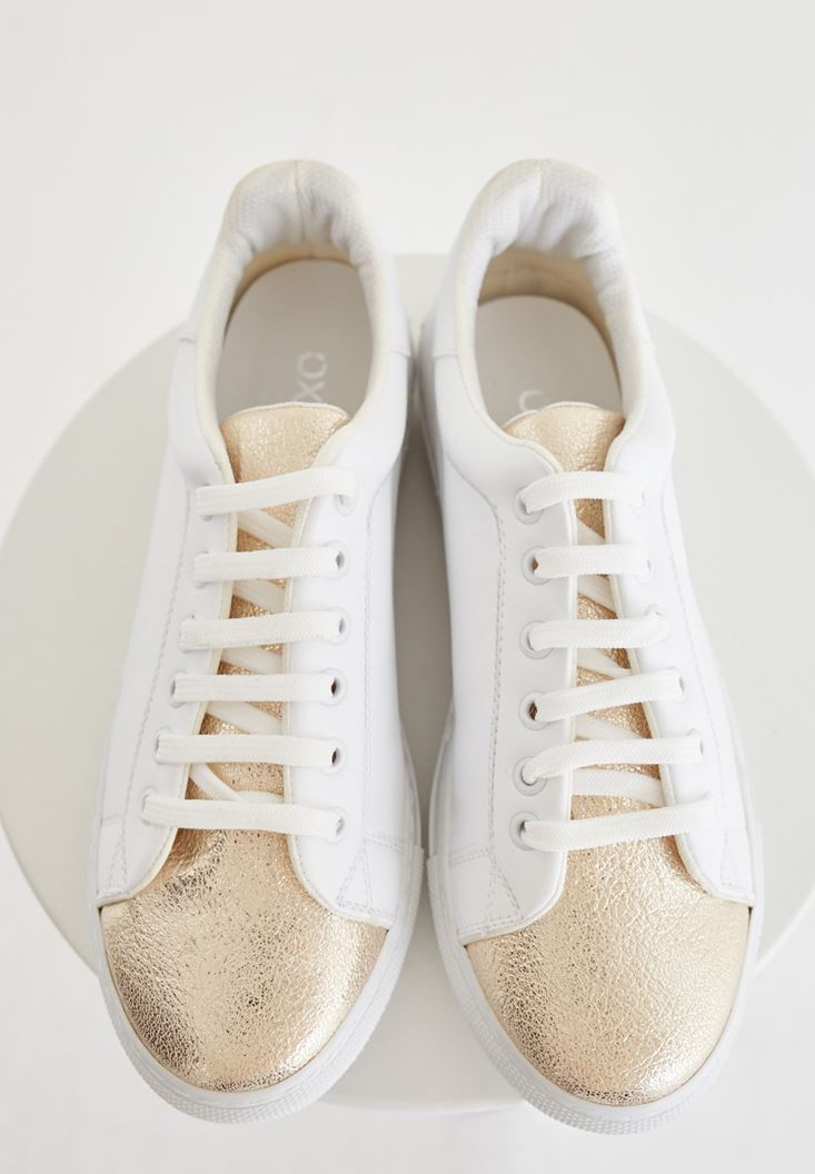 Mixed Sneakers With Metallic Detailed