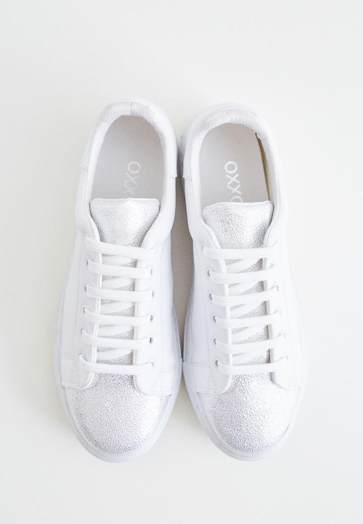Bayan Beyaz Metalik Detaylı Spor Ayakkabı