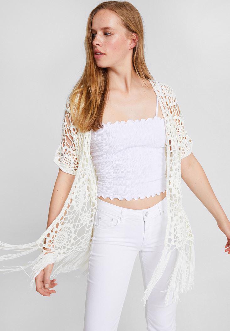 Women Cream Lace Kimono with Half Sleeve