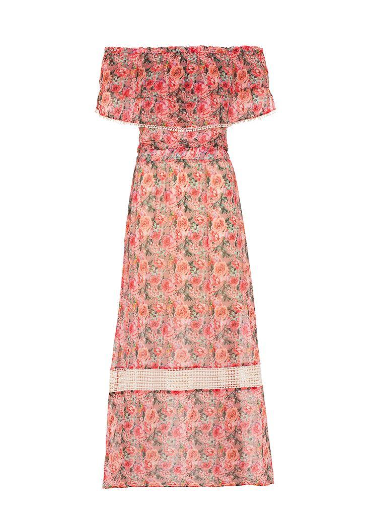 Turuncu Desenli Uzun Elbise