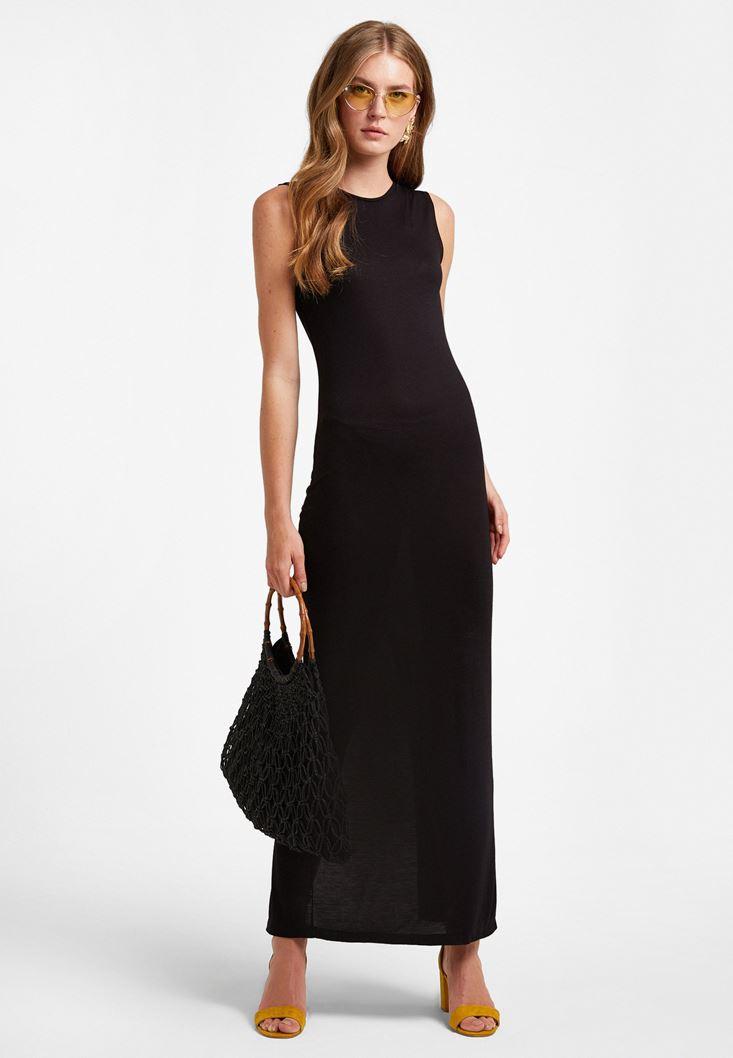Siyah Arkası Yırtmaçlı Uzun Elbise