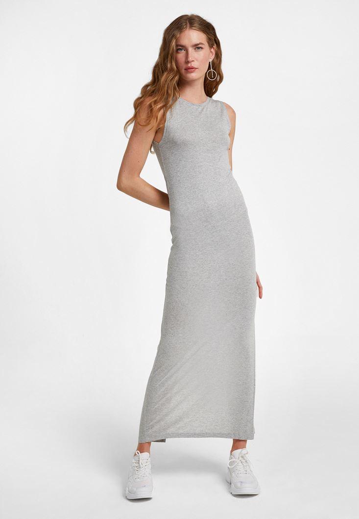Gri Arkası Yırtmaçlı Uzun Elbise