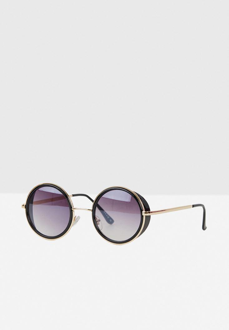 Siyah Yuvarlak Çerçeve Detaylı Gözlük