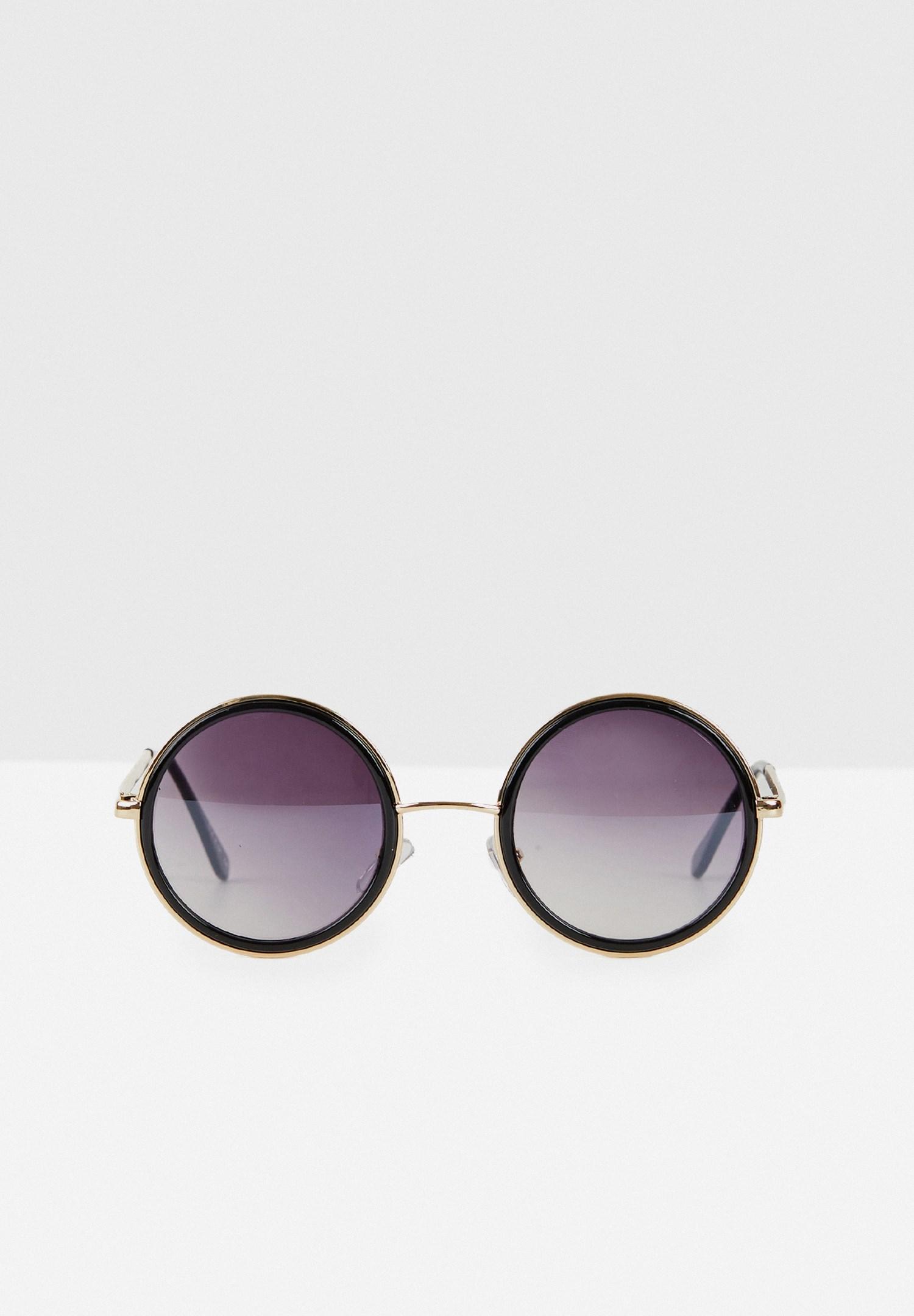 Bayan Siyah Yuvarlak Çerçeve Detaylı Gözlük
