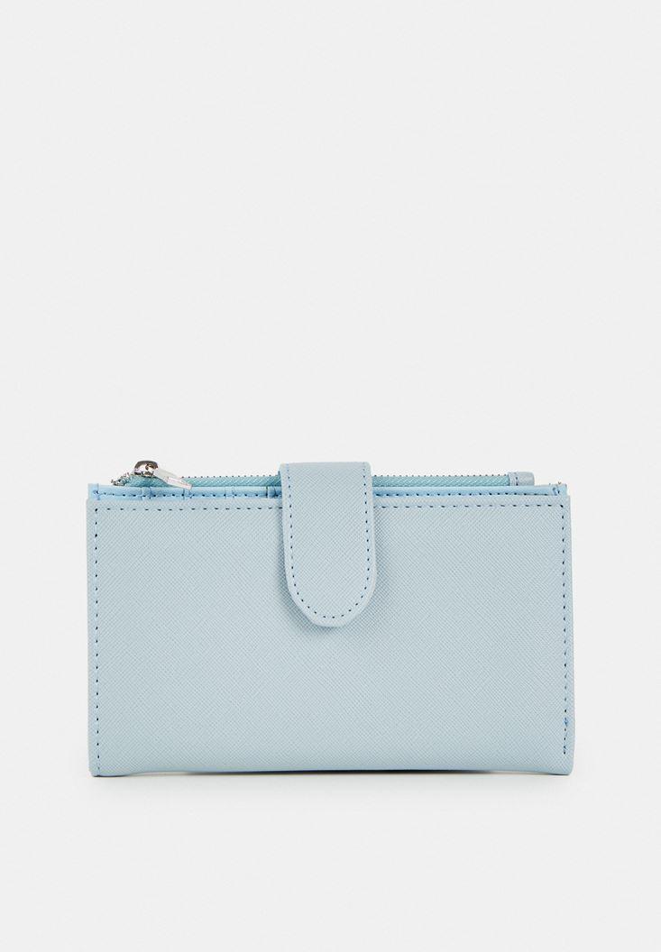 Blue Zipper Detailed Wallet