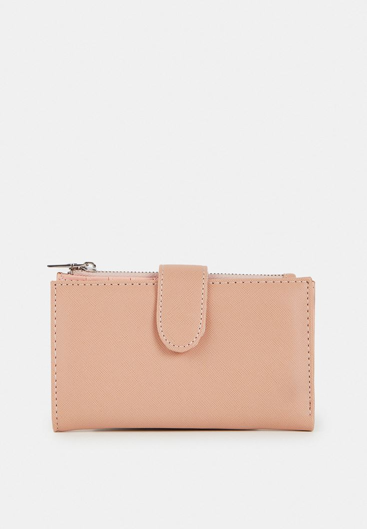 Red Zipper Detailed Wallet