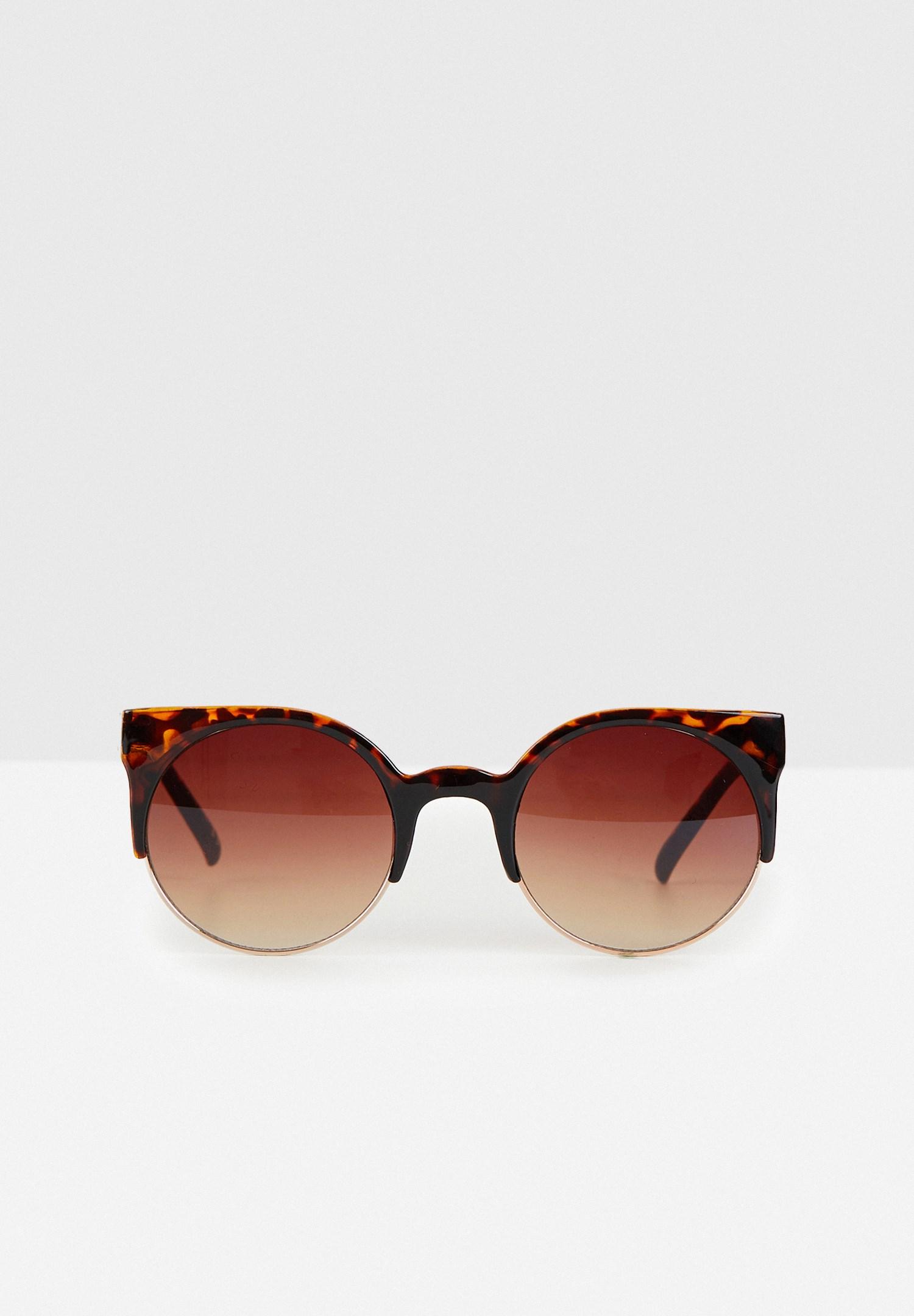 Bayan Çok Renkli Yarım Çerçeveli Güneş Gözlüğü