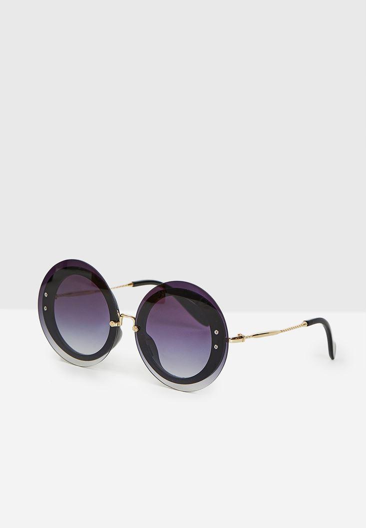 Siyah Yuvarlak Gold Detaylı Gözlük
