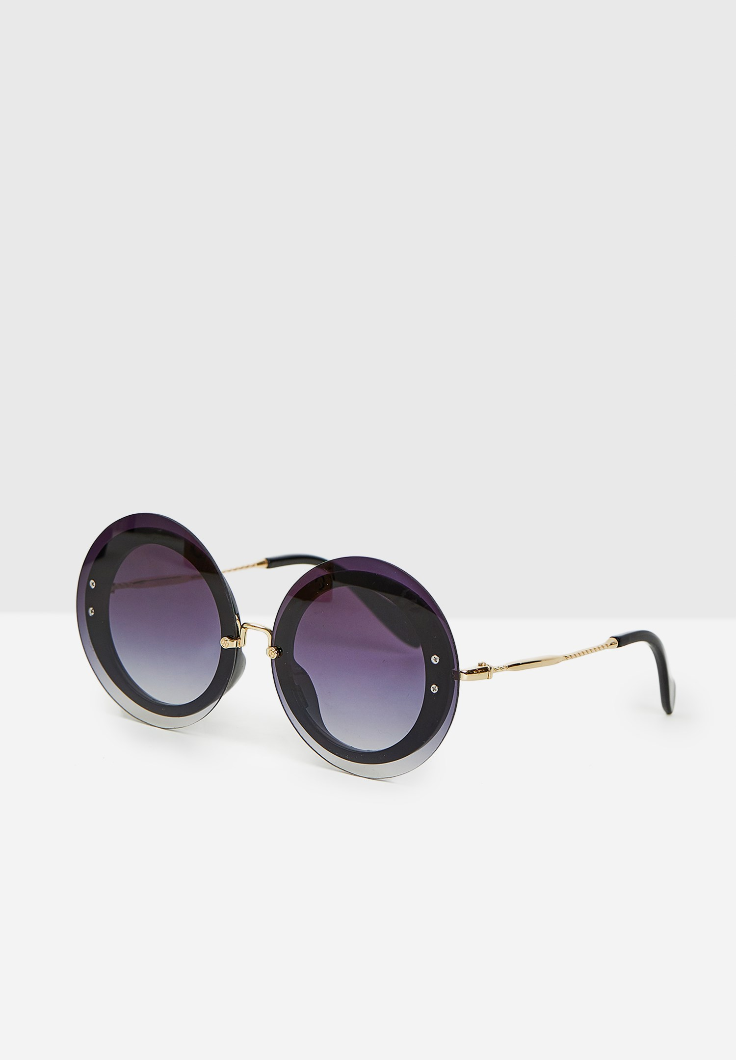 Bayan Siyah Yuvarlak Gold Detaylı Gözlük