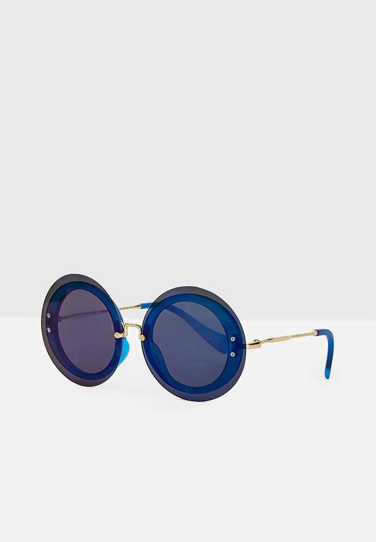 Navy Circle Sunglasses with Gold Detail