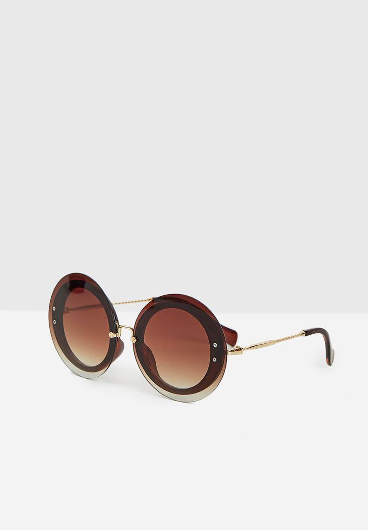 Kahverengi Yuvarlak Gold Detaylı Gözlük