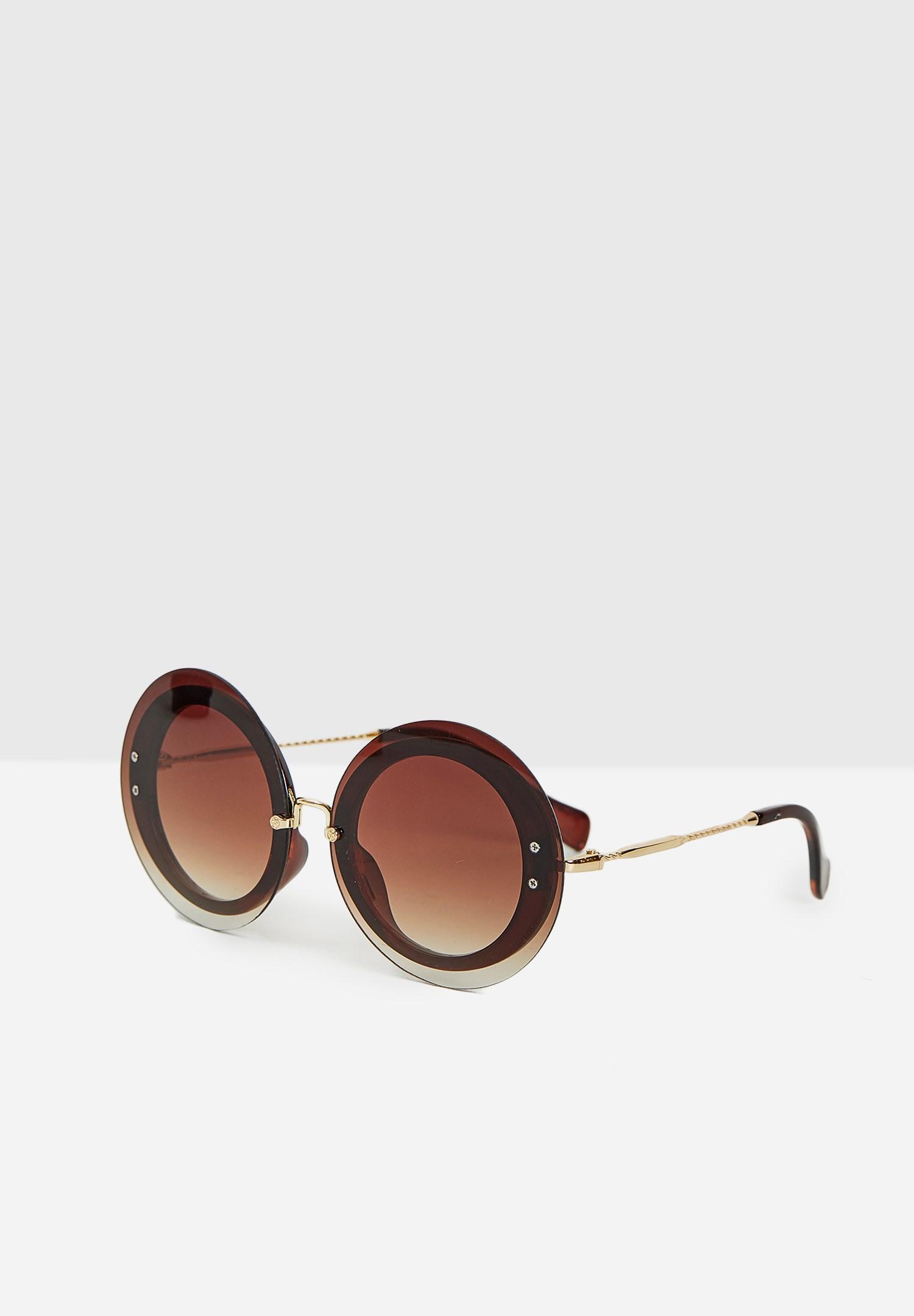 Bayan Kahverengi Yuvarlak Gold Detaylı Gözlük