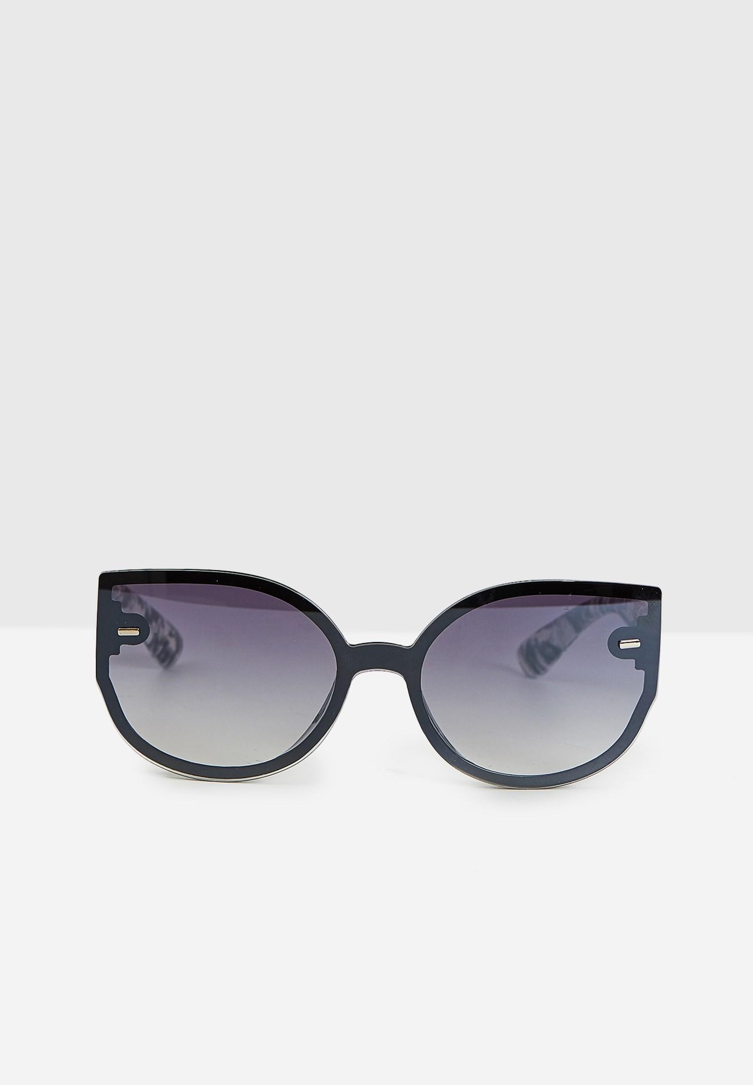 Bayan Siyah Yuvarlak Köşeli Ayna Detaylı Gözlük