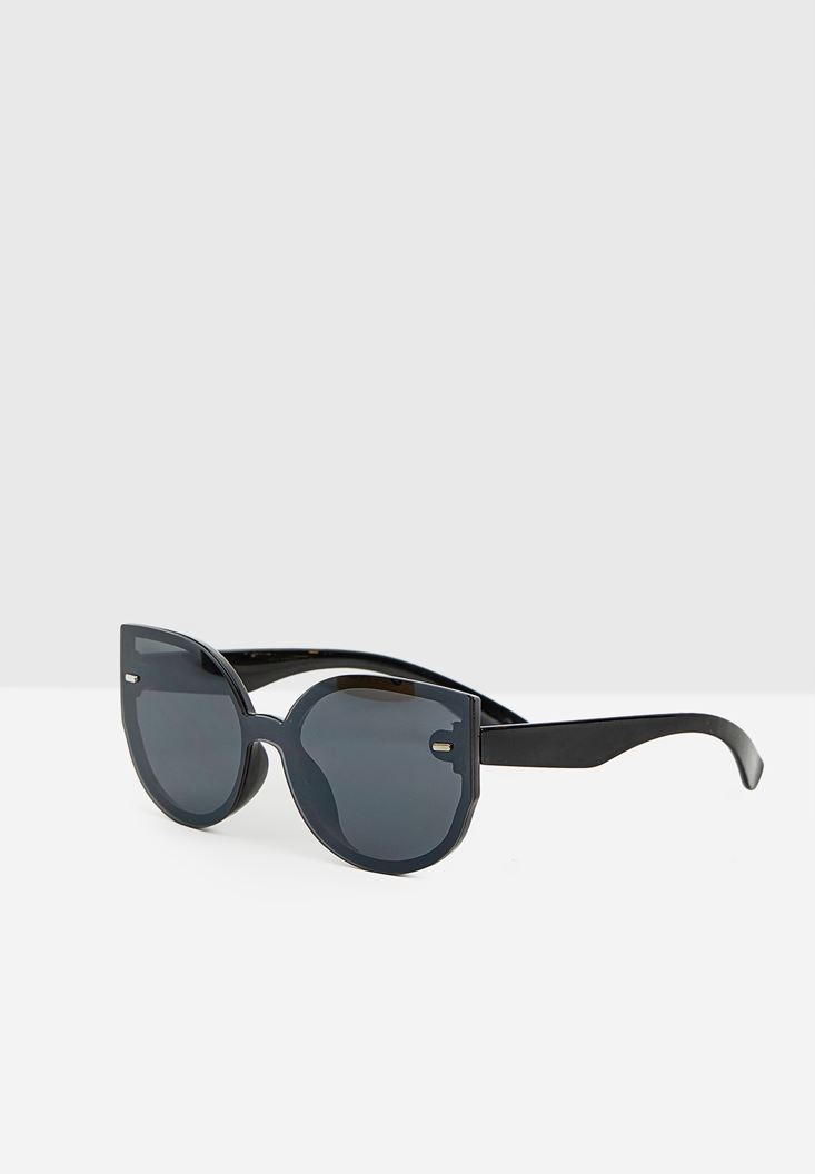 Black Circle Round Sunglasses with Mirror Detail