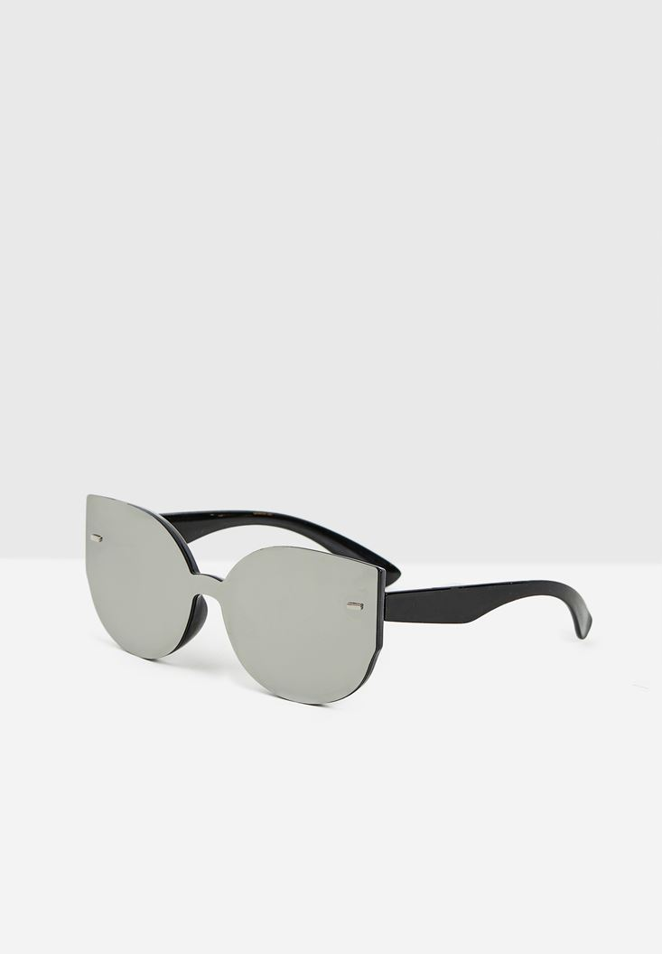 Grey Circle Round Sunglasses with Mirror Detail