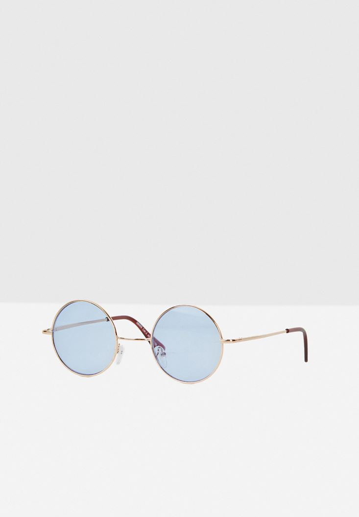 Blue Round Glasses with Details
