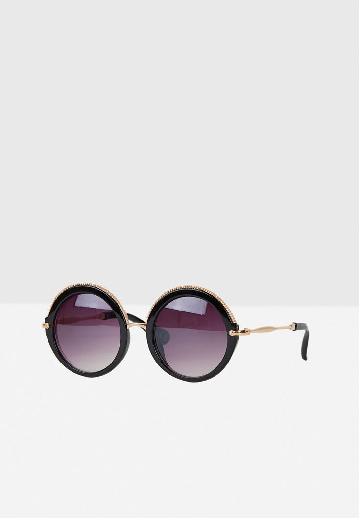 Black Round Frame Sunglasses with Details