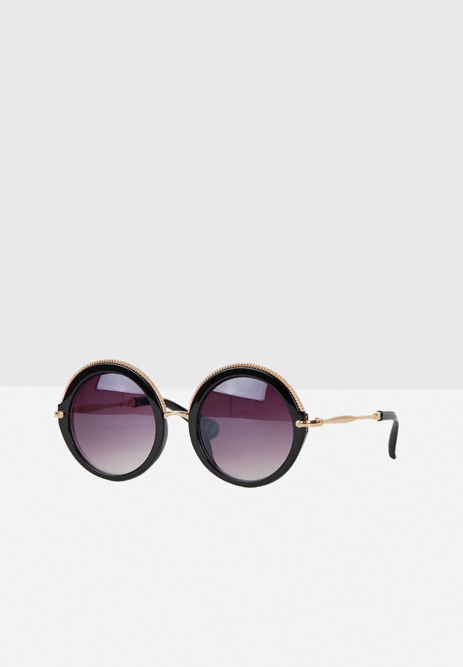 Bayan Siyah Yuvarlak Kalın Çerçeveli Güneş Gözlüğü