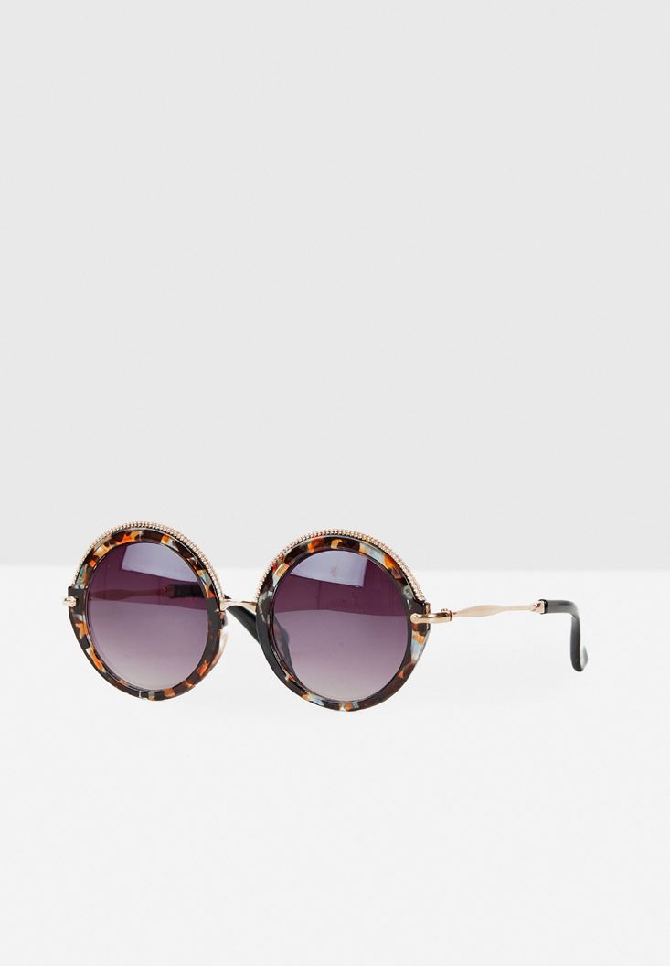 Mixed Round Frame Sunglasses with Details
