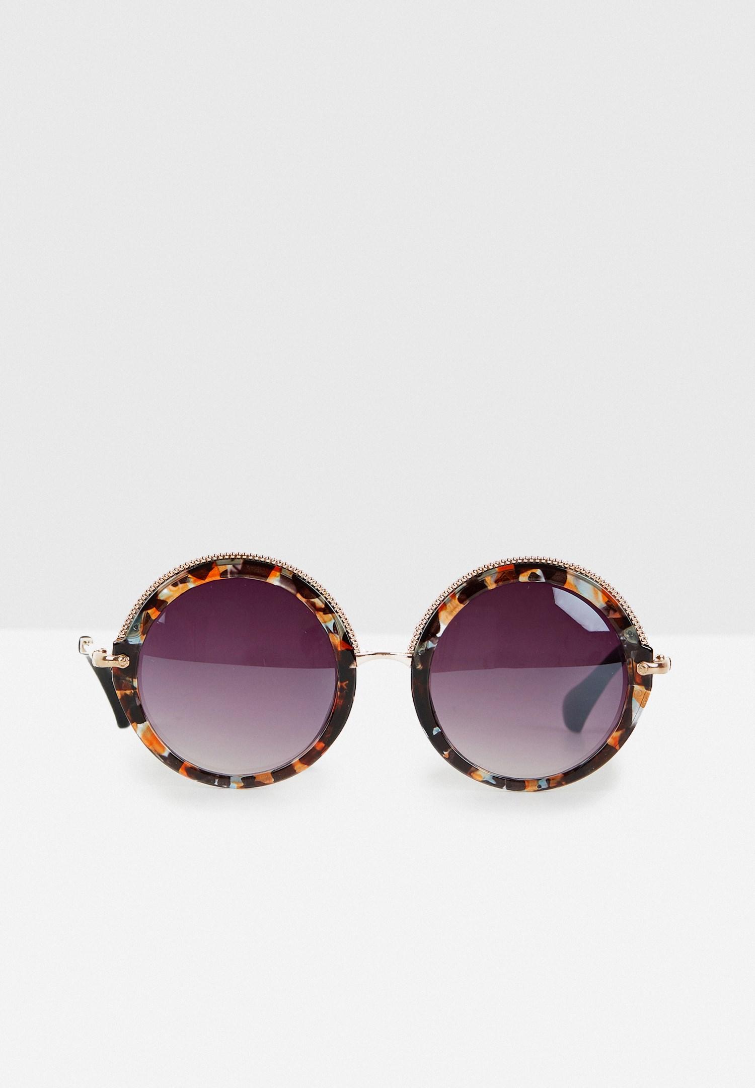 Bayan Çok Renkli Yuvarlak Kalın Çerçeveli Güneş Gözlüğü