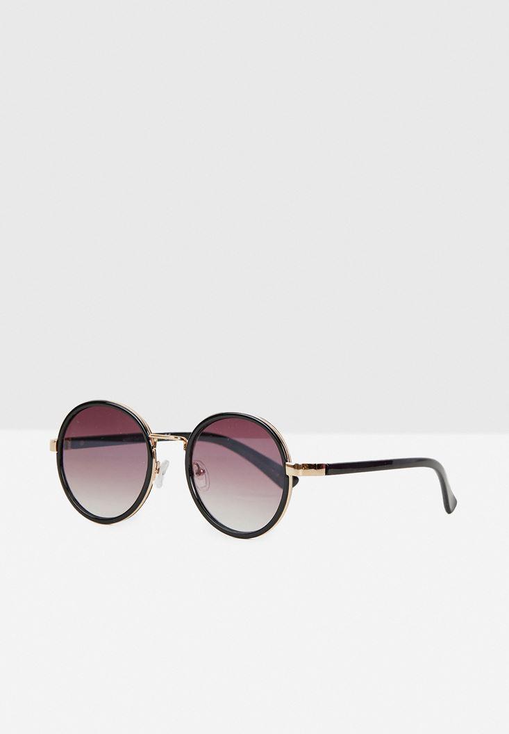 Siyah Yuvarlak Çerçeveli Gold Detaylı Gözlük