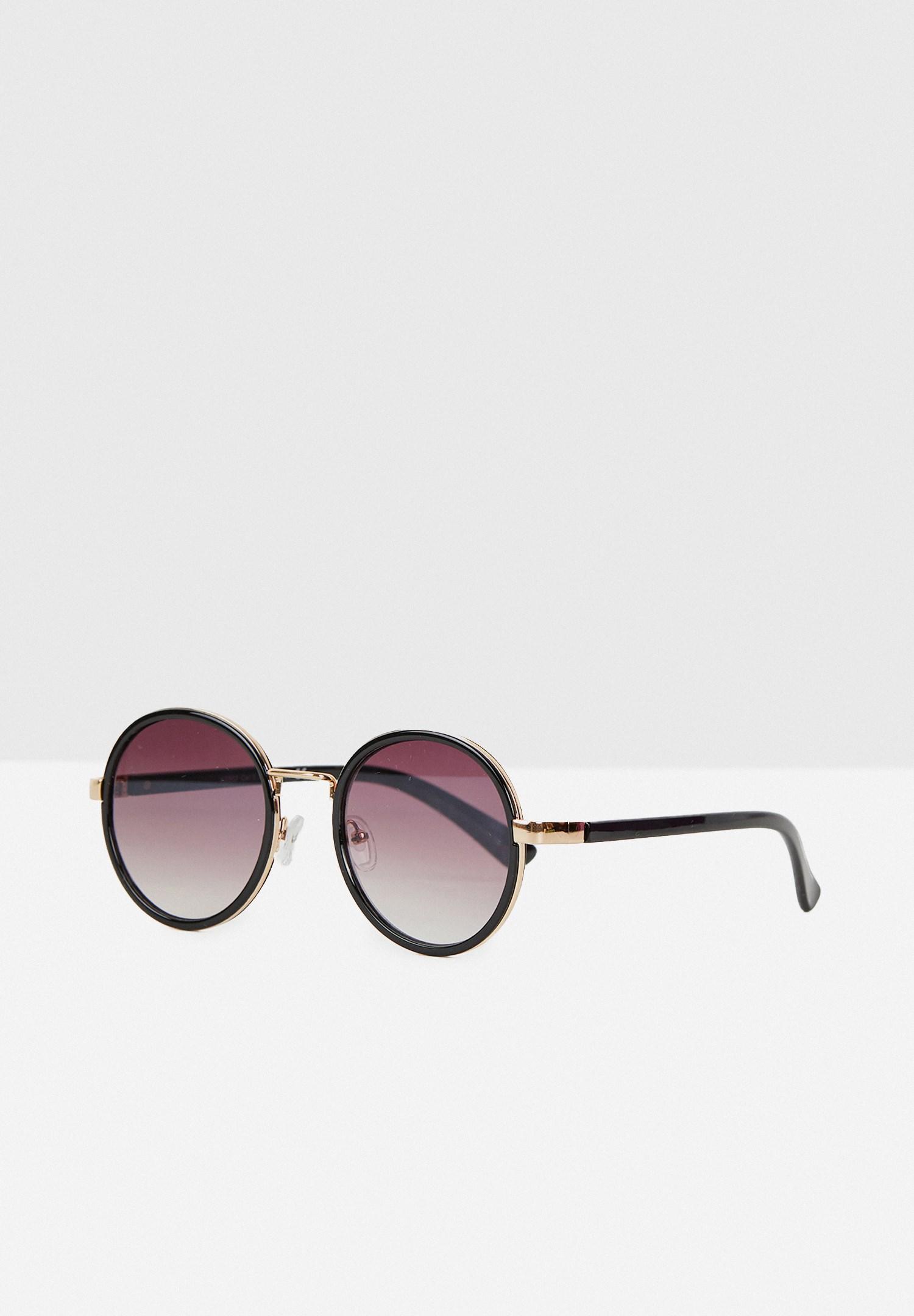 Bayan Siyah Yuvarlak Çerçeveli Gold Detaylı Gözlük