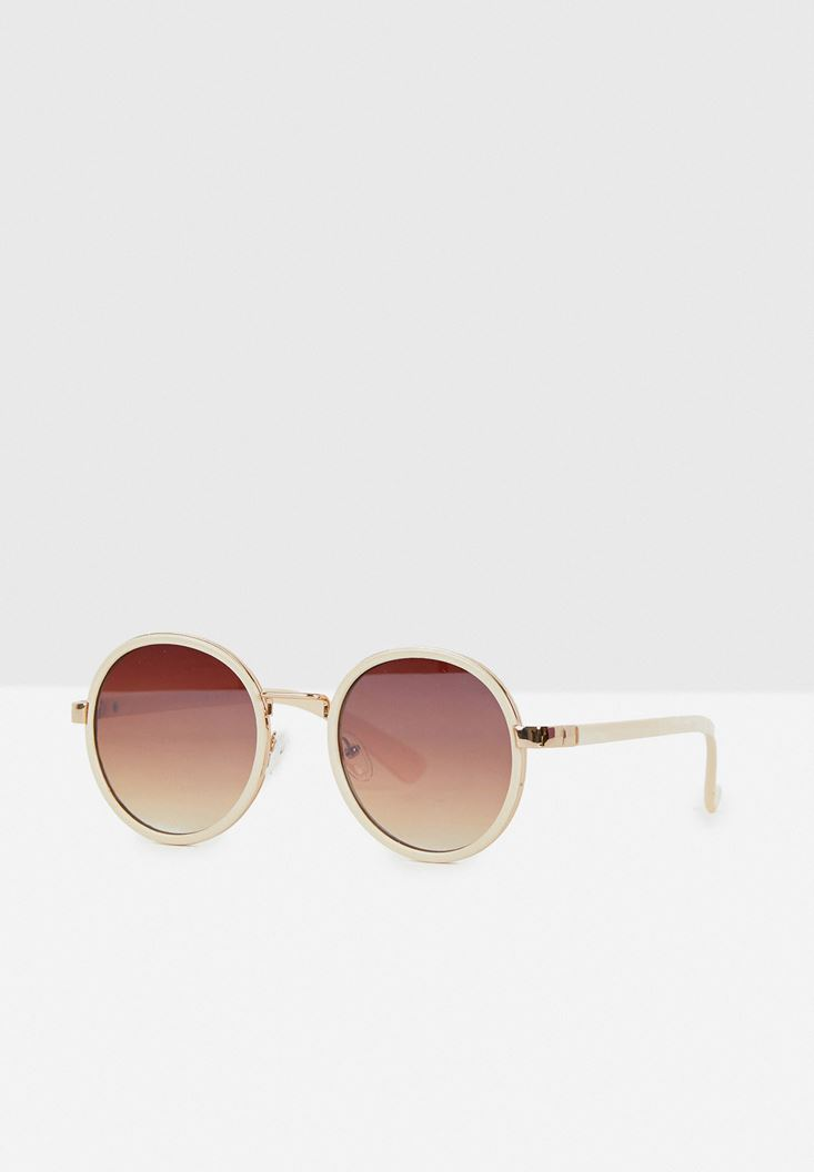 Round Frame Sunglasses with Gold Details