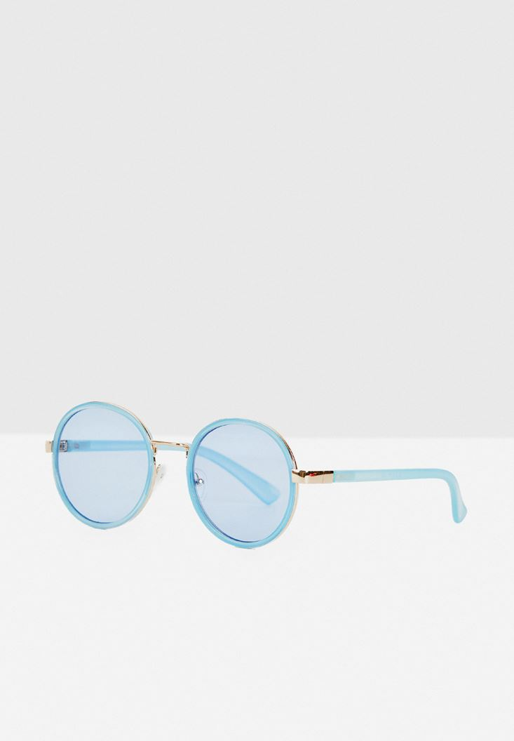 Blue Round Frame Sunglasses with Gold Details