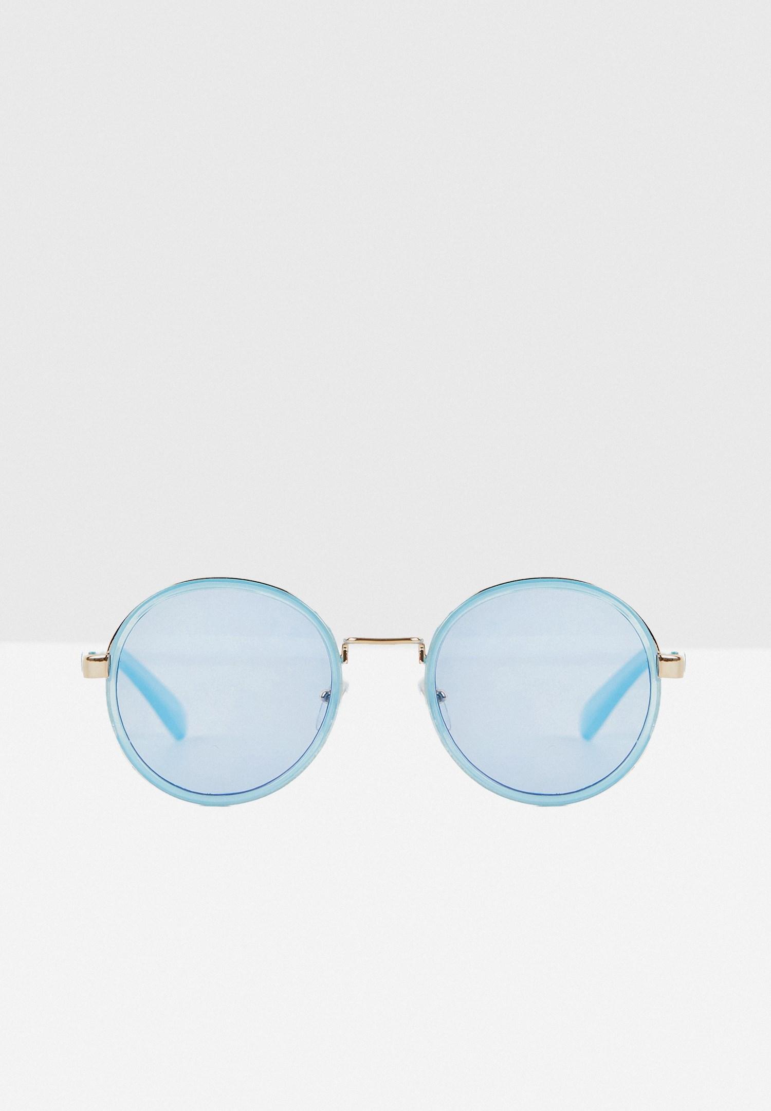 Bayan Mavi Yuvarlak Çerçeveli Gold Detaylı Gözlük