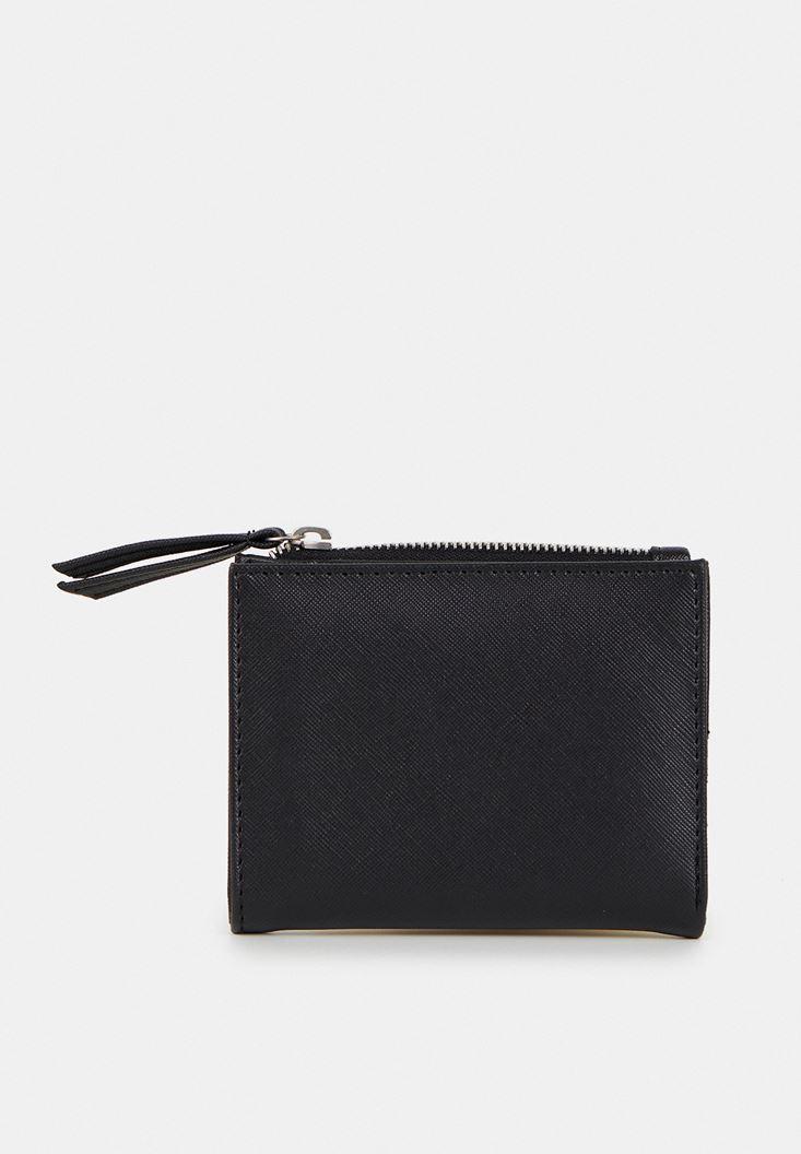 Black Wallet with Zipper Detail
