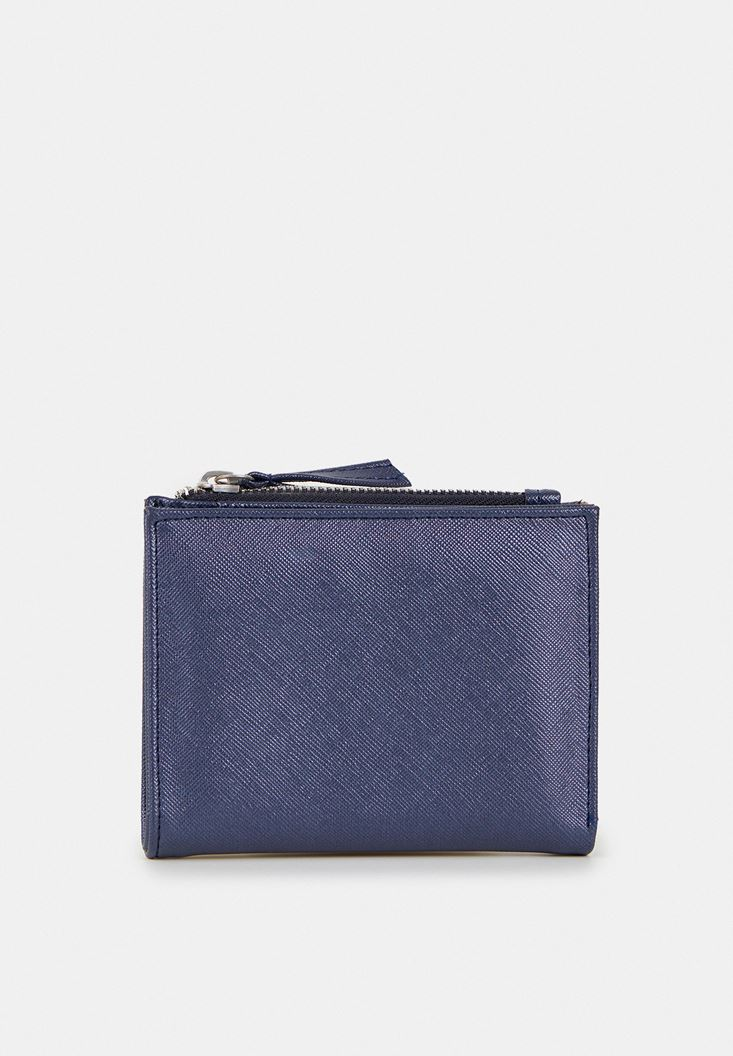 Navy Wallet with Zipper Detail
