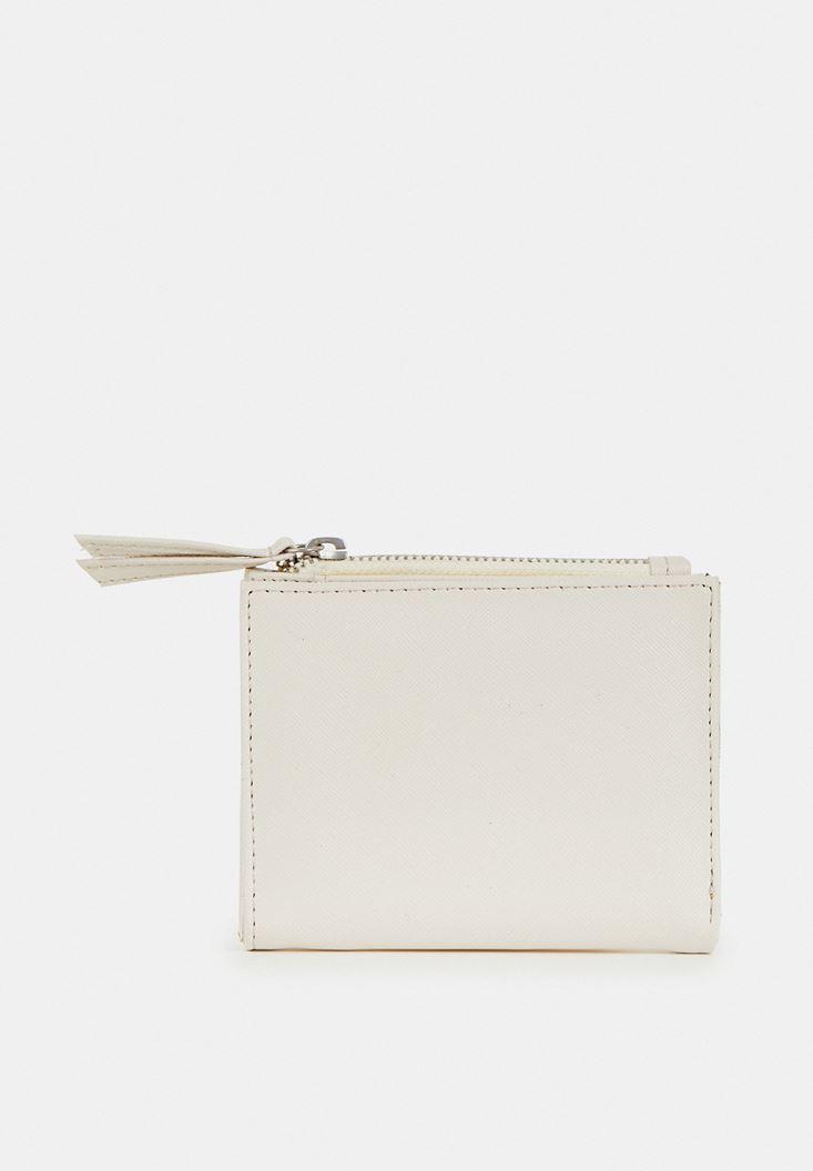 Cream Wallet with Zipper Detail