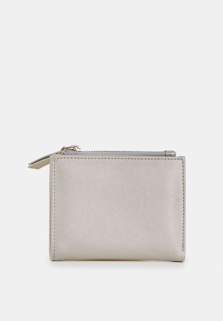 Grey Wallet with Zipper Detail