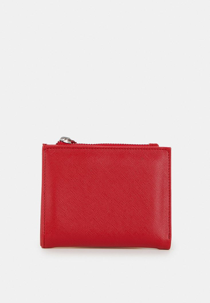 Red Wallet with Zipper Detail
