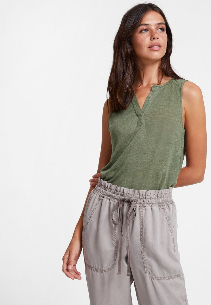 Green Linen T-shirt with V Neck