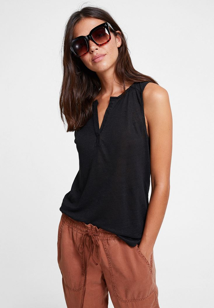 Black Linen T-shirt with V Neck