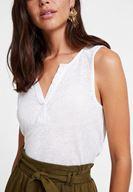 Women Cream Linen T-shirt with V Neck