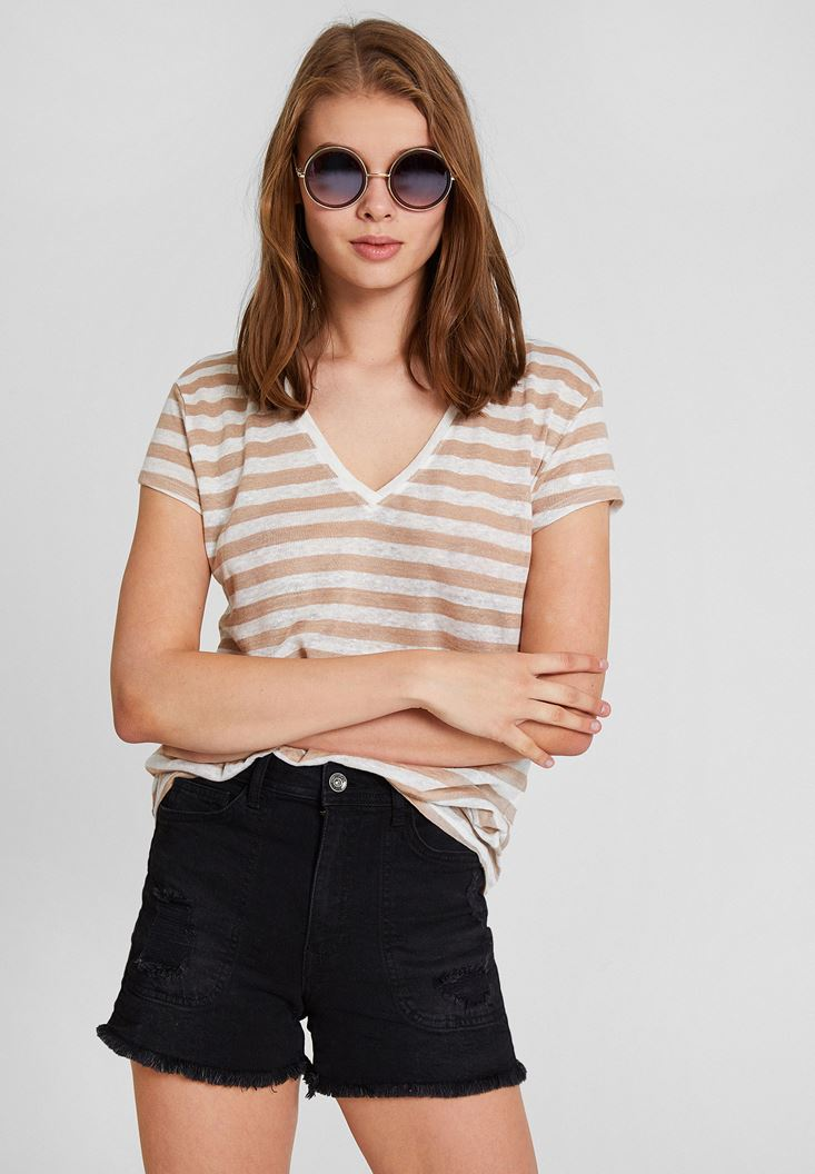 Mixed Striped Basic T-Shirt with V Neck