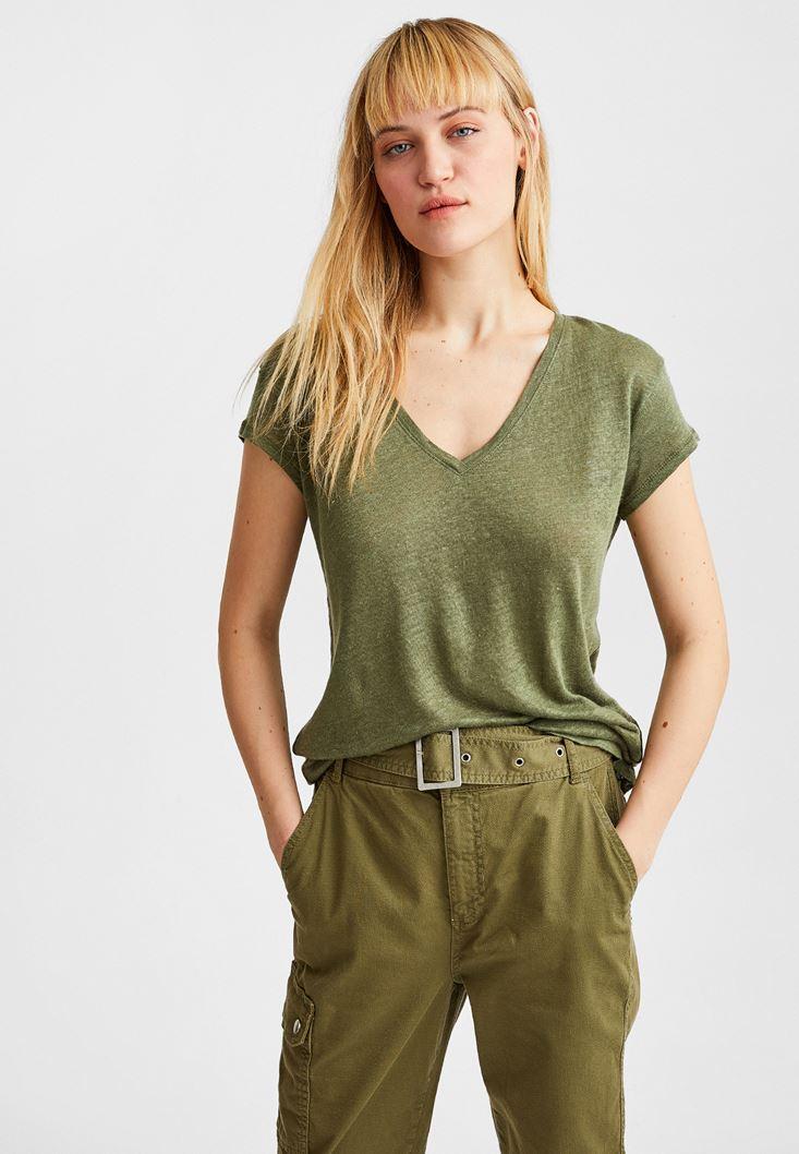 Green V Neck Linen T-Shirt