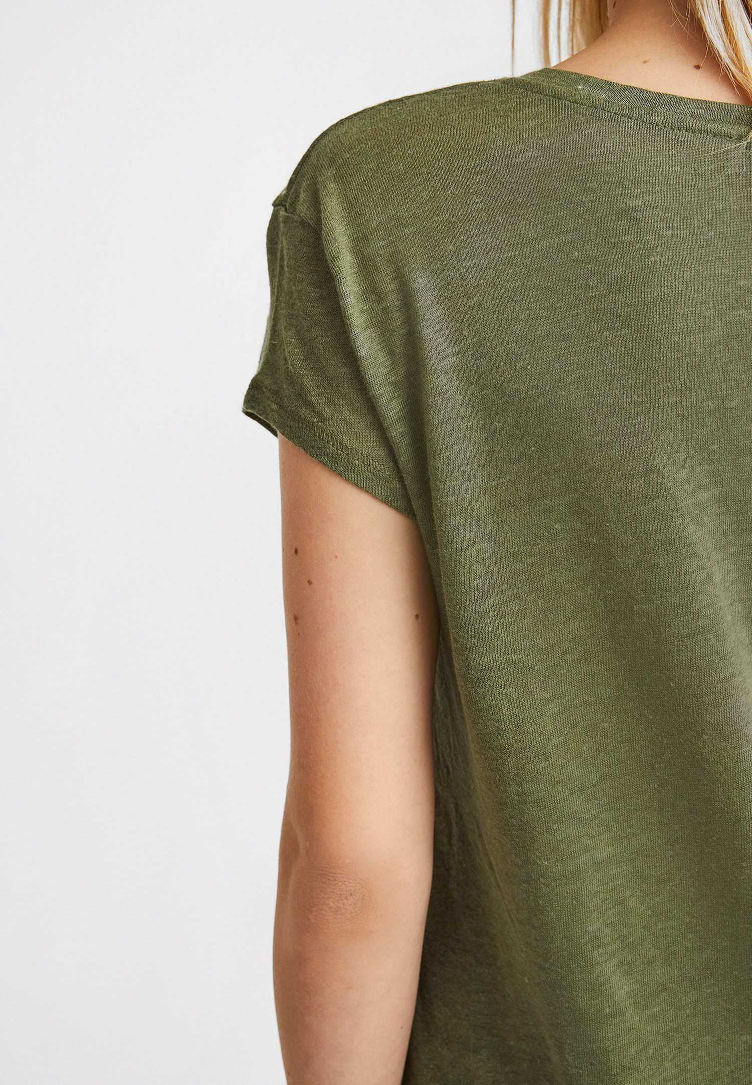Bayan Yeşil V Yaka Keten Tişört