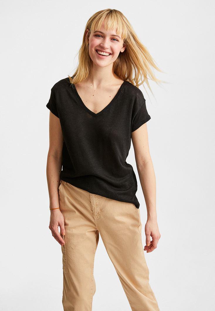 Black V Neck Linen T-Shirt