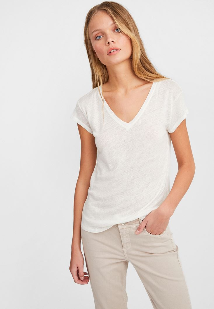 Cream V Neck Linen T-Shirt