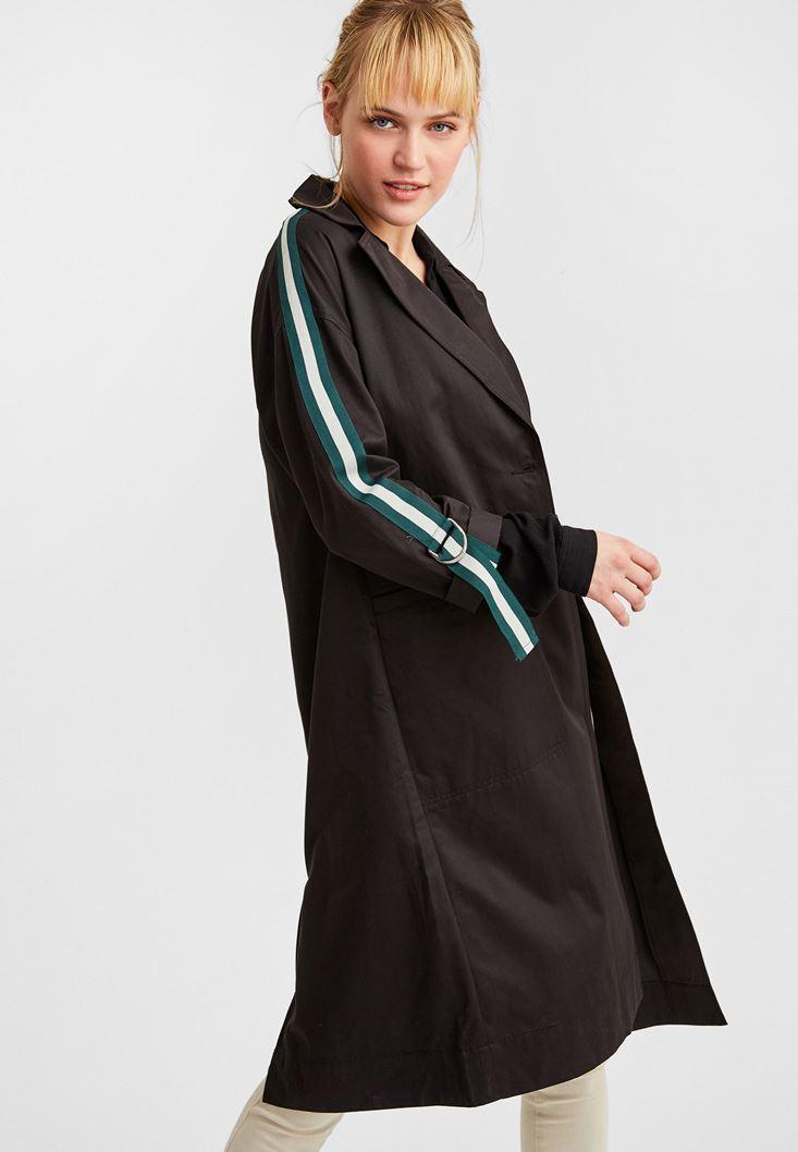 Black Trenchcoat with Stripe