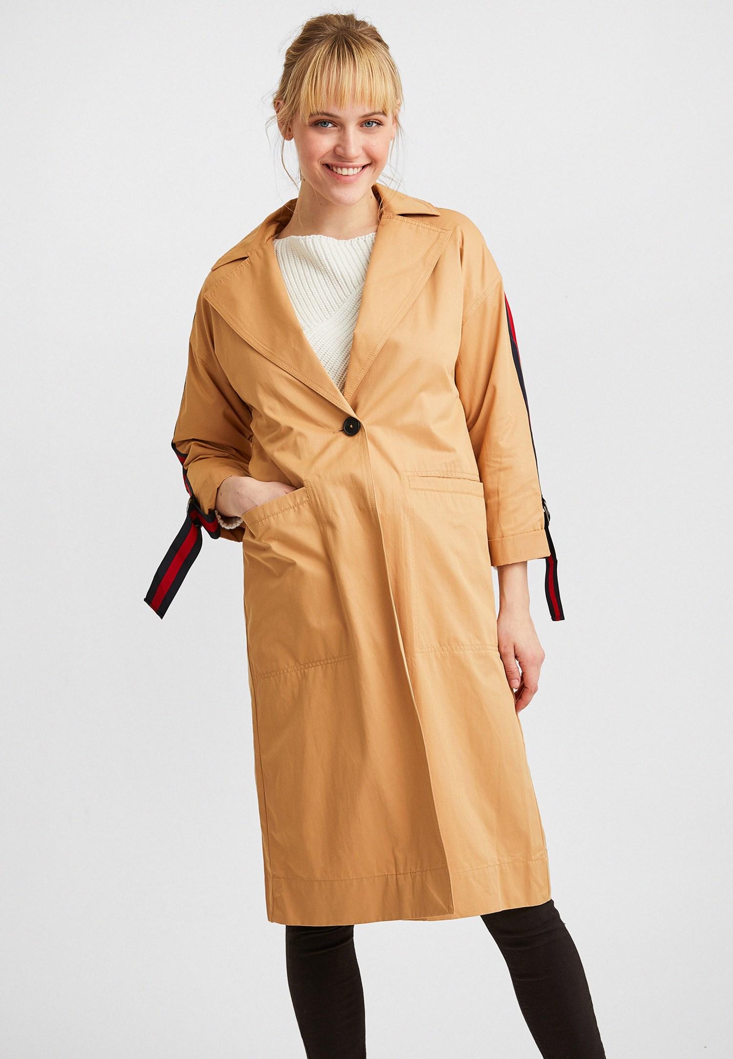 Bayan Kahverengi Kolları Şeritli Trençkot